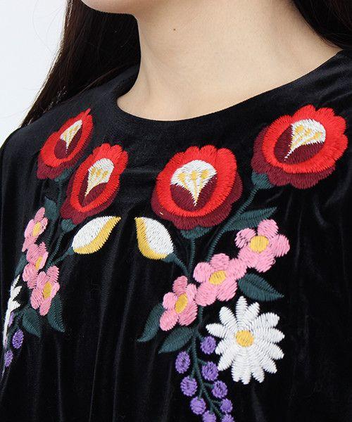 AMBIDEX Store ベルベット花刺繍 袖口ギャザーP.O(F クロ): Dot and Stripes CHILD WOMAN