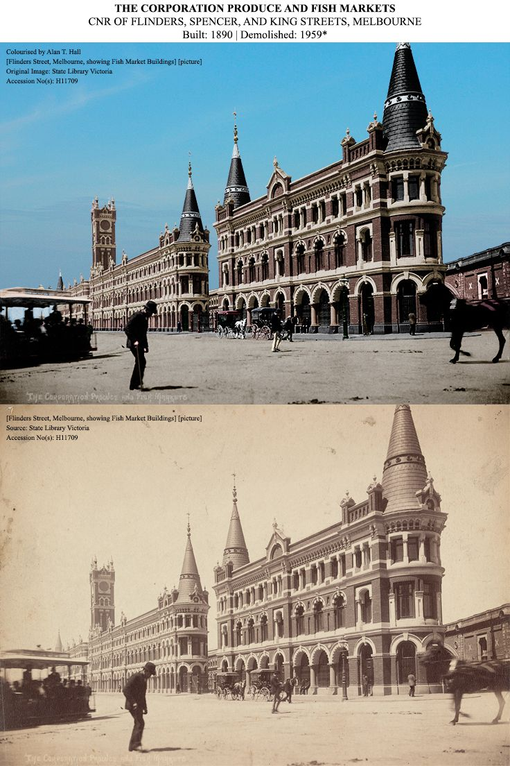 This historic image is of the Fish Market Buildings (c.1890) that once spanned Flinders Street, between Spencer and King Streets. The view is from the corner of Spencer and Flinders Street. It was demolished in 1959 for the King Street bridge construction, and the site is currently occupied by the North Bank Palace apartments. Colourised by Alan T. Hall Original Image: State Library of Victoria (Accession No: H11709). #MelbourneHistory #MelbourneCBD #OldPhotos #BeautifulBuildings