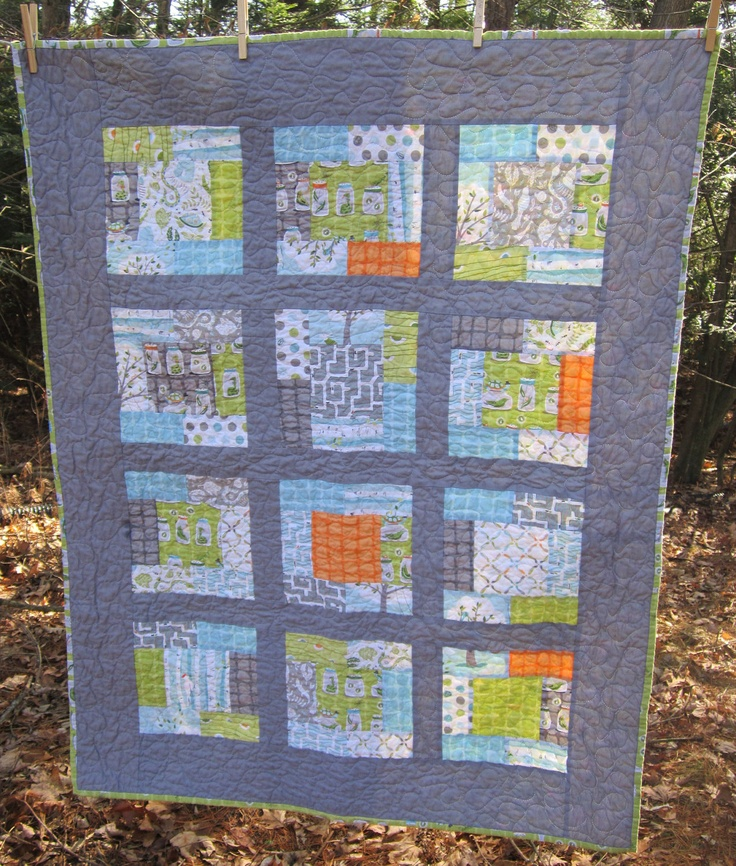 Backyard Baby Crib Baby Boy Quilt -- grey, orange, blue, green. $120.00, via Etsy.