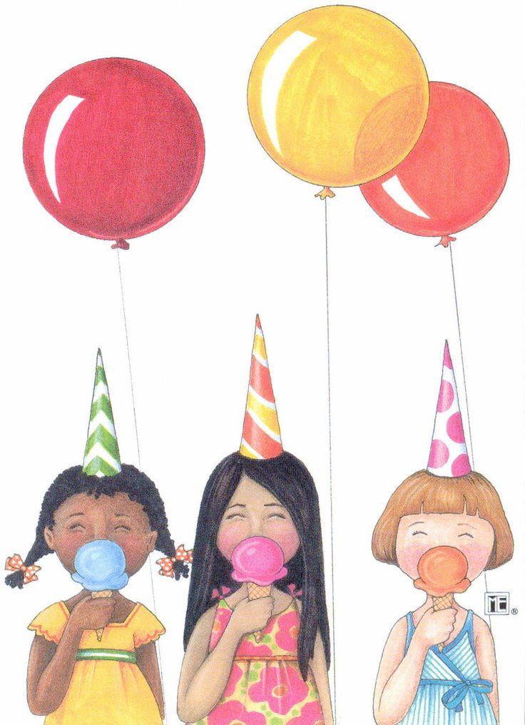 Mary engelbreit 3 ice cream cones balloons blank greeting card envelope new mary engelbreit