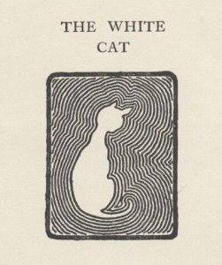 """The White Cat    Woodcut print of white cat in abstract design, black and white graphic. From, Jacobs, W.W., """"Captain's All"""", 1909. Charles Scrivner's Sons, N.Y. Scan of 2d image in the public domain believed to be free to use without restriction in the US"""