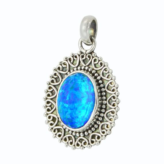Get 25% discount Coupon-SUM15 Last 2 days  Synthetic Opal Gemstone 925 Sterling Silver by DevmuktiJewels