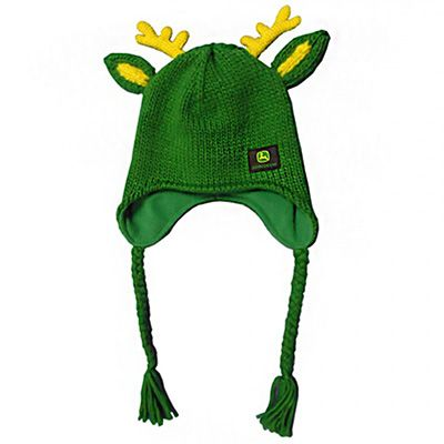 Women's Soft Sweater John Deere Knit Trapper with Deer Antlers and Ears That Stand Up On Top (Green). I NEED THIS NOW!!!