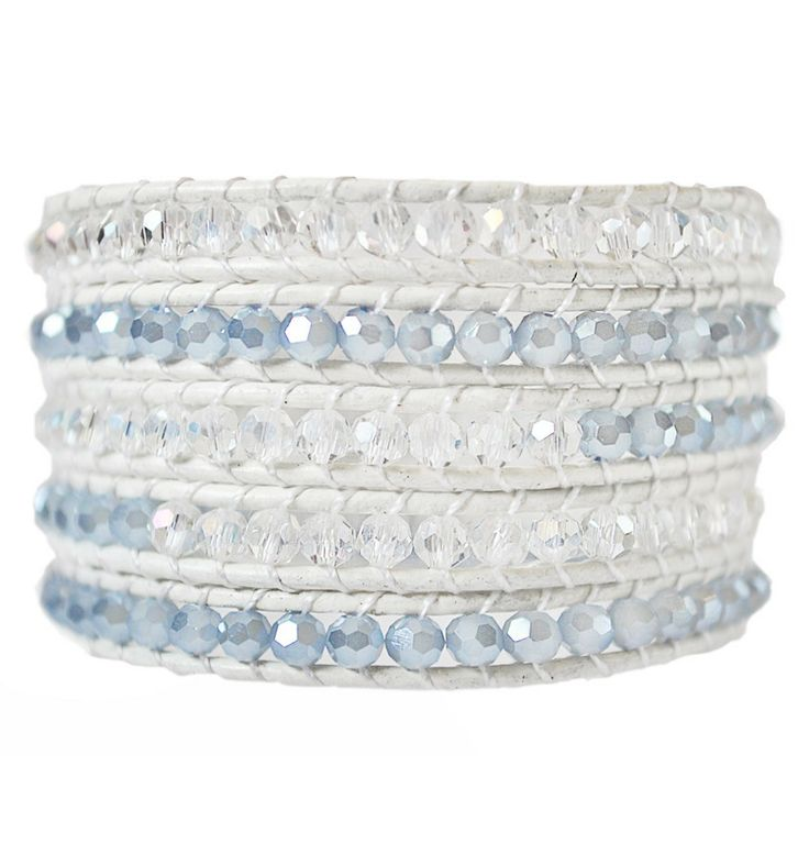 Ice White & Pale Blue 5 Wrap Leather Bracelet. Oh the brilliance.. oh the elegance. This shimmering white bracelet will be the envy of friends. $34 on sale @ EmmaJaxon.com #EmmaJaxon #Sale #Jewelry #Bracelet #ArmCandy