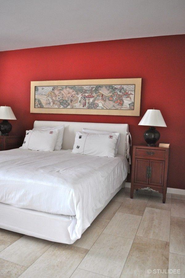 rode slaapkamer in aziatische stijl na STIJLIDEE Interieuradvies en Styling