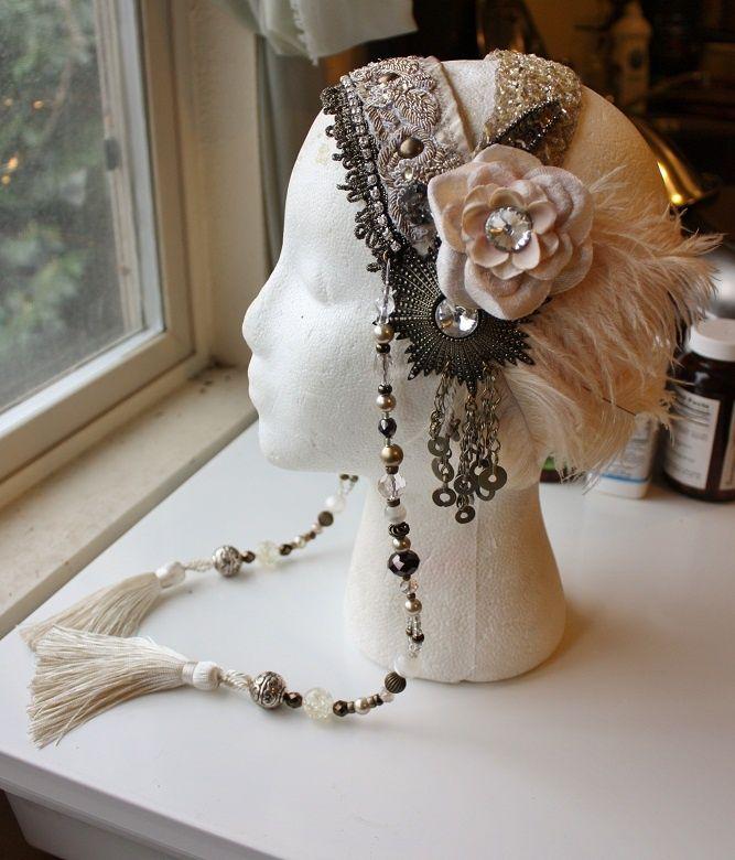 Assuit Headdress- Diamond Glitz - Assiut, Tribal Fusion Headpiece, Belly Dance, Tribal Bellydance, Vaudeville | Tribal Fusion, Headdress and Headpieces