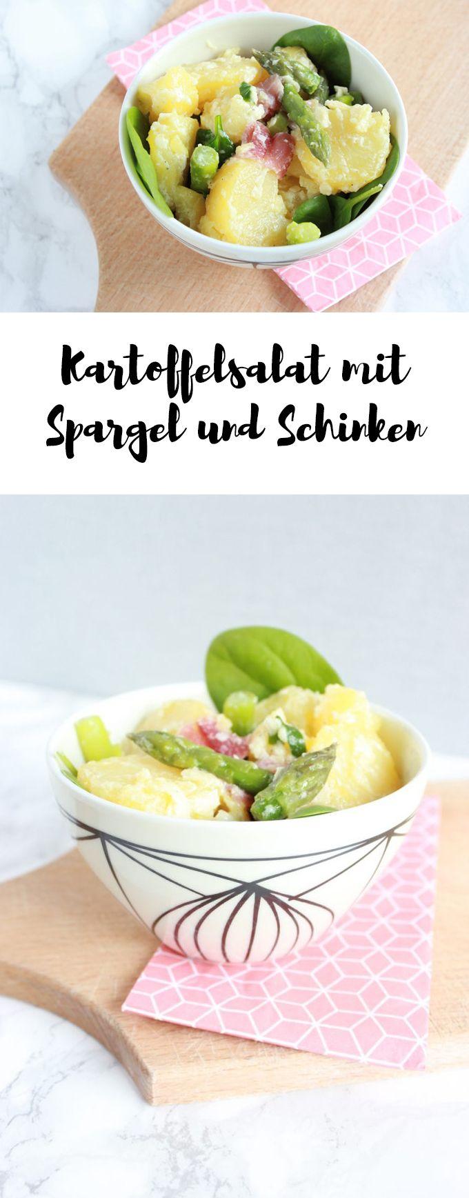 Kartoffelsalat mit grünem Spargel und Schinken