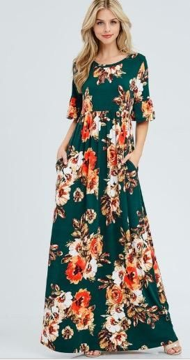Plus Size floral maxi dress with pockets! - Rosie Grace Boutique ...