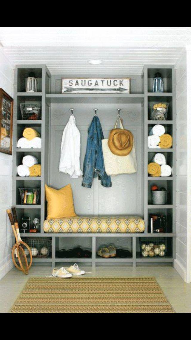 Amazing built in storage. Great gray color. Hooks, cubbies, shelves.