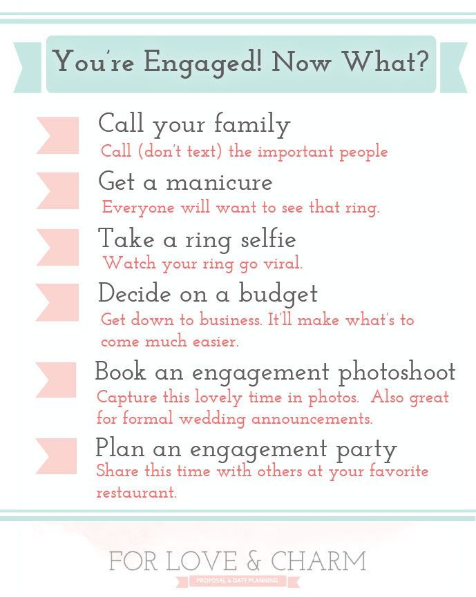 You're engaged! Now what do you do? Try these tips for what to do after your get engaged.  #proposal #engaged #engagementring