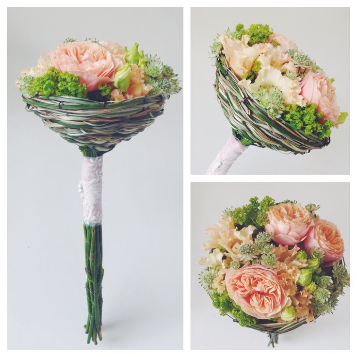 Alchemilla, lisianthus, eustoma, astrantia and roses on beargrass basket by NO NO NO.