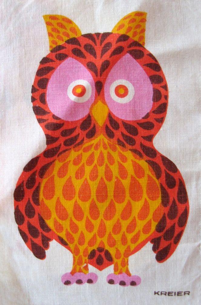 Owl from set of kids animal print linen napkins by Kreier, Switzerland.