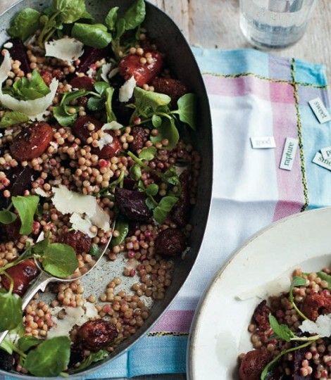 chorizo beetroot couscous salad Giant couscous = Israeli couscous (Ptitim)