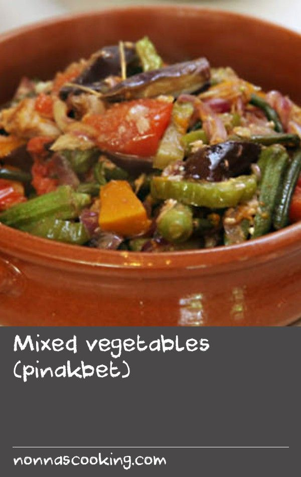 Mixed vegetables (pinakbet) | This Fillipino recipe is a fantastic one-pot meal.The vegetables in the recipe are layered in the pot, so don't be tempted to stir it– just shake the pan occassionally as it cooks to keep the shape of the vegetables.