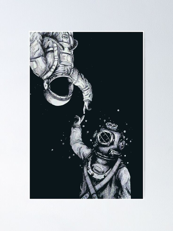 Astronaut And Diver Last Frontiers Poster In 2021 Astronaut Wallpaper Astronaut Drawing Space Drawings