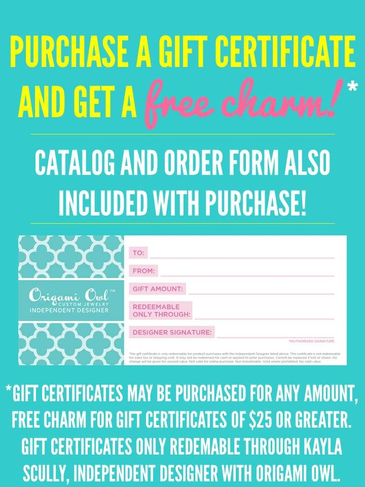 Gift Certificate   Loveable Lockets –   www.pamcoop.origamiowl.com