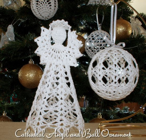 Cathedral angel and ball ornament pdf by mytreasuredheirlooms (Craft Supplies & Tools, Patterns & Tutorials, Fiber Arts, Crochet, crochet pattern, email pdf, epattern, angel, christmas, ball ornament, cathedral, holidays, gift, tree decoration, starched, crochet cotton, thread)