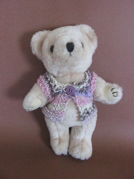 Teddy sweater vest nutka_art handmade doll bear clothes knit