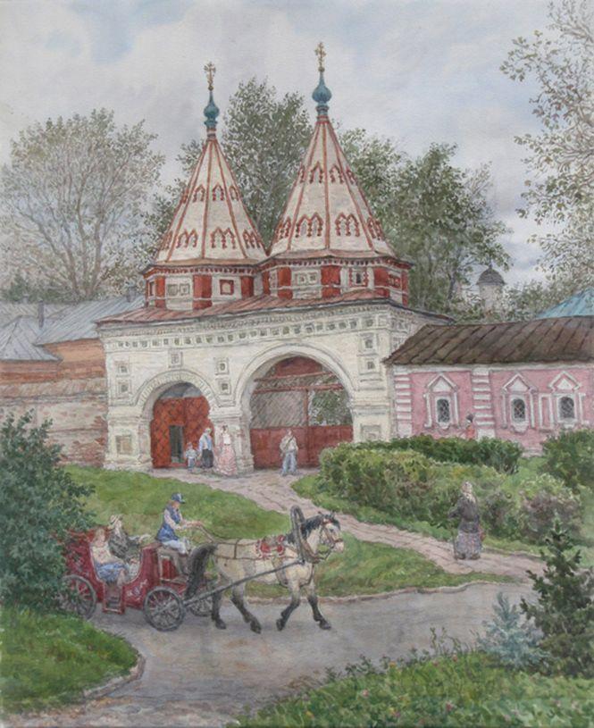 Людмила Томашевская - акварель. Ворота Ризоположенского монастыря.