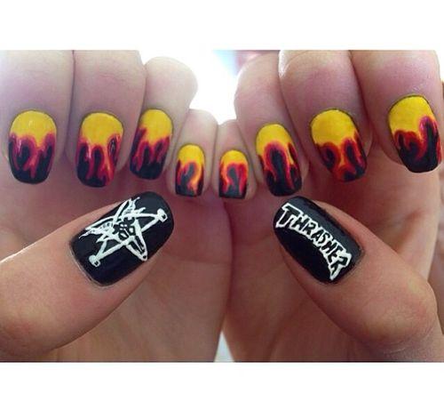 Thrasher 🔥   Nail Art in 2019   Nails, Acrylic nails, Nail ...