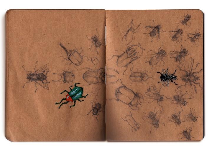 sewn paper bugsDoodles Journals, Sketchbooks, Illustrationer Art Journals