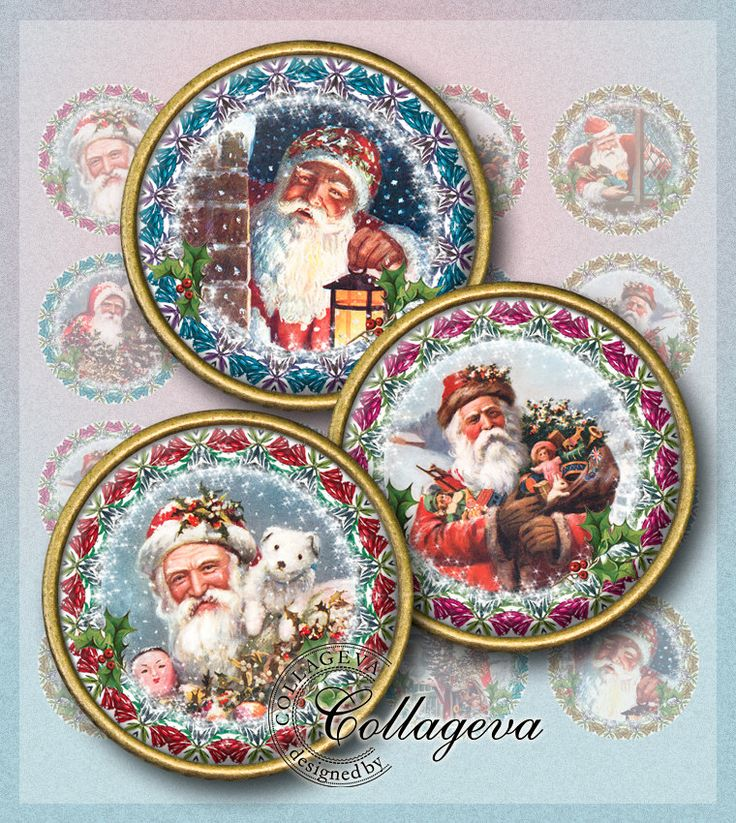 "Vintage Santa Claus Digital Collage Sheet, Christmas round images, Victorian holiday Wreath 1.5"" 1.25"" 30 mm 25 mm 1 inch circles (EC03-c) by collageva on Etsy"