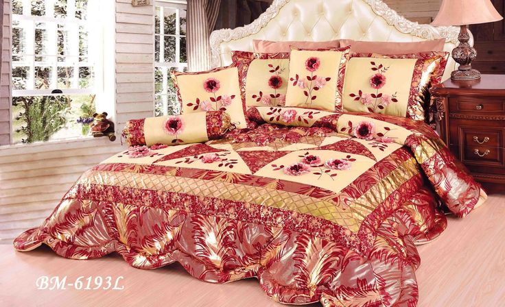 Tache 4-6 Piece Floral Red and Gold Spring Blooms Patchwork Comforter Quilt Set