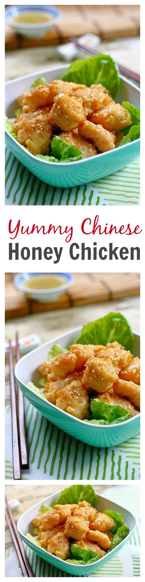 Super yummy Chinese honey chicken. Crispy chicken pieces coated with sweet and sticky honey sauce. To-die-for recipe that you can make at home | rasamalaysia.com