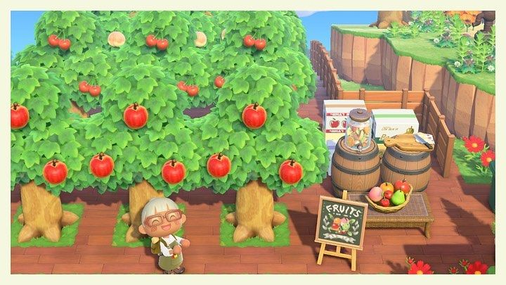Animal Crossing New Horizons On Instagram Idea For A Fruit Tree Farm Farmers Market Credit To Fruit Animals Animal Crossing Wild World Animal Crossing Qr