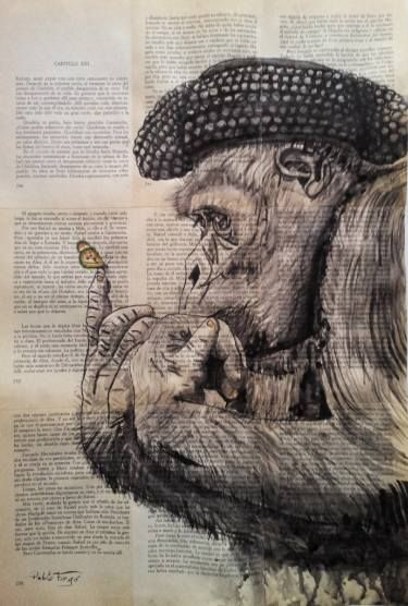 "Saatchi Art Artist Pablo Fergó; Drawing, ""bullfighter monkey"" #art"