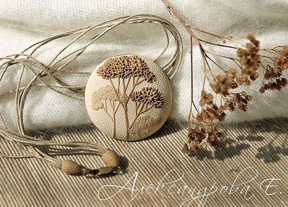 Round pendant Brushwood  polymer clay necklace  by AleksPolymer