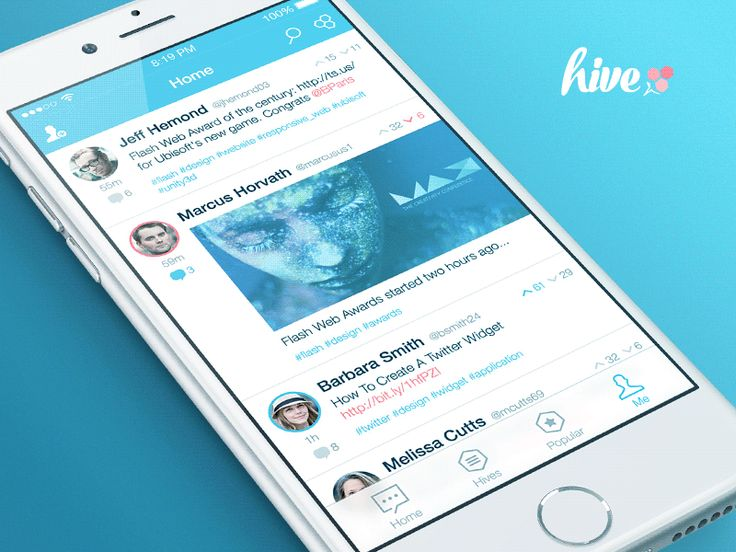 Feed screen transition for Hive app.  Get dat mockup. -- Facebook - Twitter - Google +