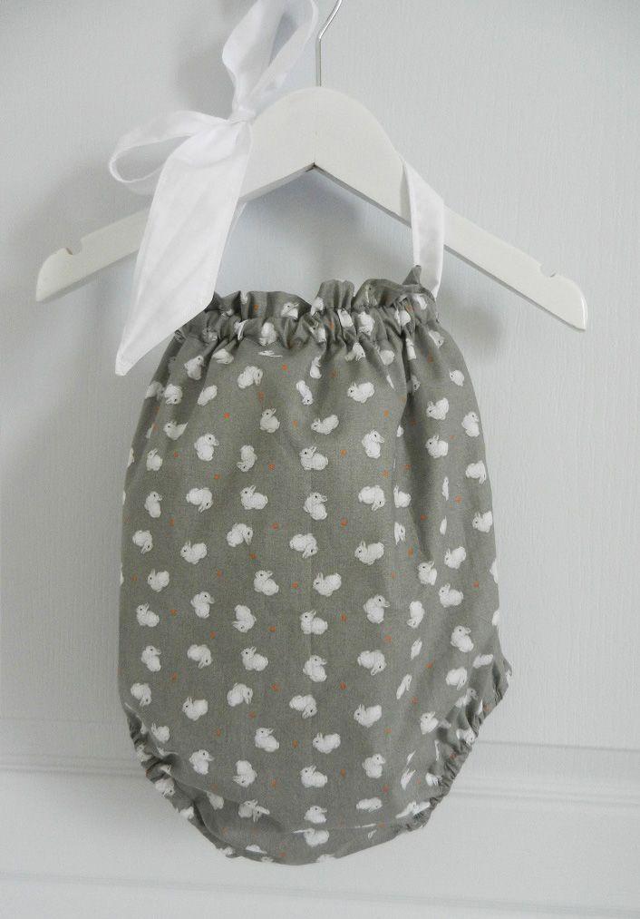Maillot de bain bébé en coton gris motifs lapins et ruban blanc - 18 mois - Duchesse Or Ange