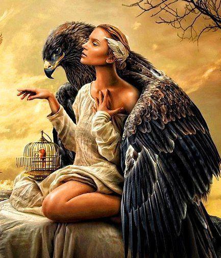 Схема вышивки «девушка орел» - Схемы вышивки - наталія33 - Авторы - Портал «Вышивка крестом»
