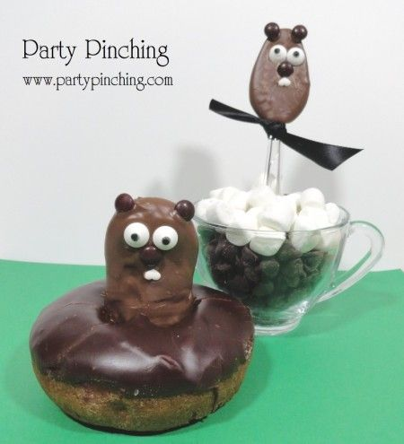 """Breakfast with Punxsutawney Phil"" for Groundhog's Day! Chocolate groundhog donut & chocolate spoon"