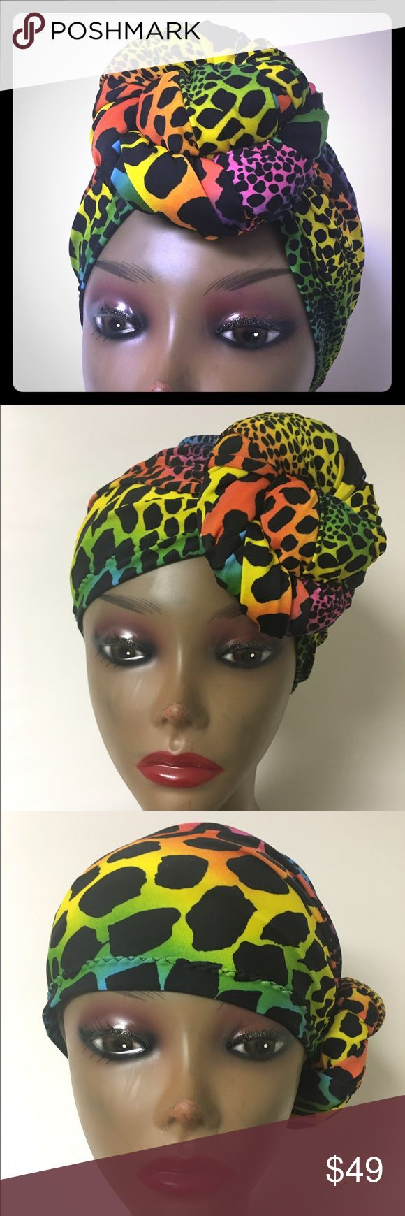 """""""New"""" Pre-Knotted Turban Knotted  turban can be worn four ways. Seamless full cap coverage for, Naturalistas, Resort wear, long term Hospital  Stays Chemotherapy patients women with hair loss, Working out, Bad hair days or just making a Fashion Statement.One size fits most 21-23 circumference. Turban Fabulous Accessories Hats"""