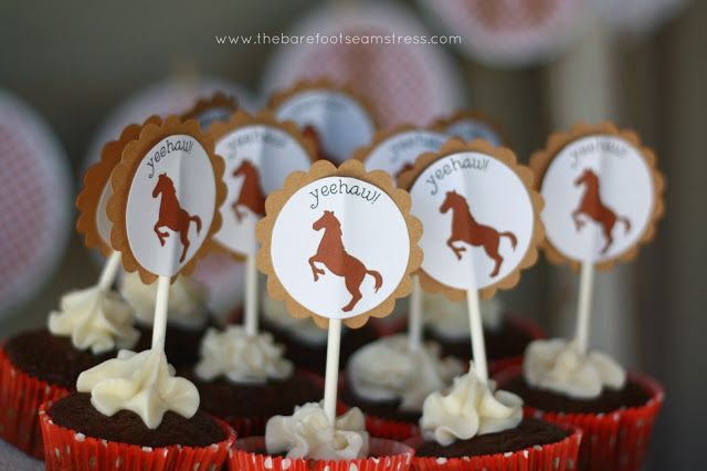 Free printable pony cupcake topper The Barefoot Seamstress: Ella's Pony Party