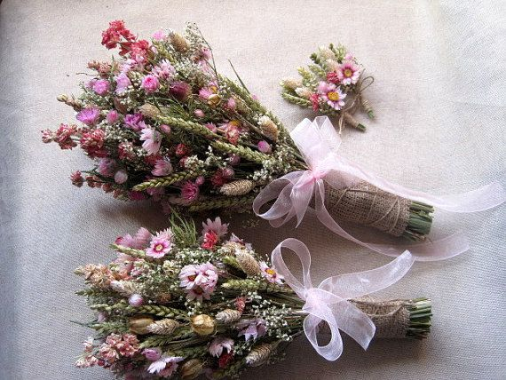 Wedding country bouquets set shabby chic pink pastel wedding bouquets rustic wedding dried flowers bouquets and buttonholes farm wedding