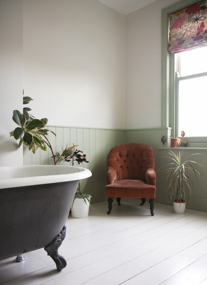 Victorian nursing chair in our bath room by Alexis at www.somethingimade.co.uk