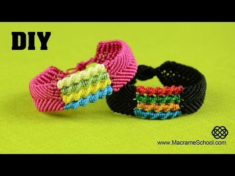 DIY Chevron Bracelet with Spiral Stripes - Macramé Tutorial - YouTube