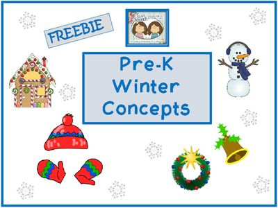 "Freebie! Winter Themed Pre-K Concepts from Twin Speech, Language & Literacy LLC on TeachersNotebook.com (14 pages)  - Hello! We hope that you are having a lovely winter. Please fill free to download this freebie to be used with your pre-k kiddos! A variety of concepts are covered. For instance, numbers, ""what's different"", sizing from littlest to biggest,"