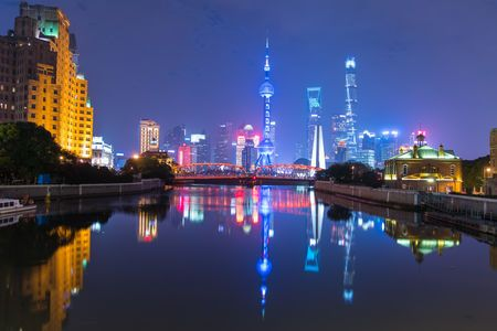 Shanghai on the Suzhou River Architecture Bridge - Man Made Structure Business Finance And Industry City Cityscape Downtown District Illuminated Lake Modern Night No People Outdoors Reflection Sky Skyscraper Travel Destinations Urban Skyline Water Waterfront