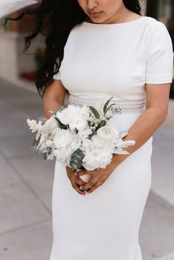 Minimalist Bridal Bouquet Vintage Style Michigan Wedding