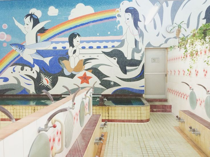 A beautiful mosaic mural in Japanese sento. From #dokodemosento