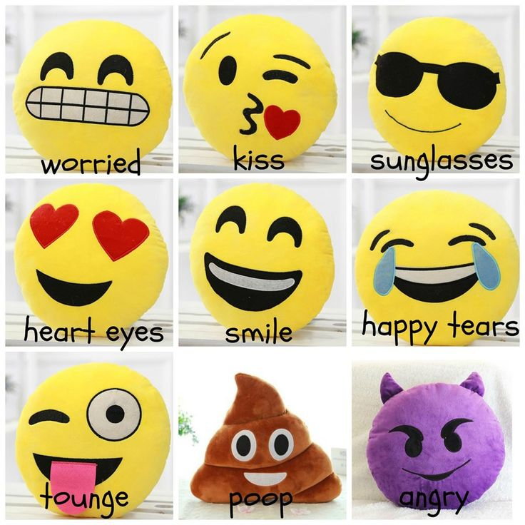 The perfect Stocking stuffer is here! Cute Emoticon Pillows make the perfect gift! Soft, stuffed plush pillow is the perfect way to express yourself or your loved ones! Have fun with the hottest EMOJI'S around!Pillows measure about 12 1/2 Inches.Made out of a cotton/Poly Blend.Washable.