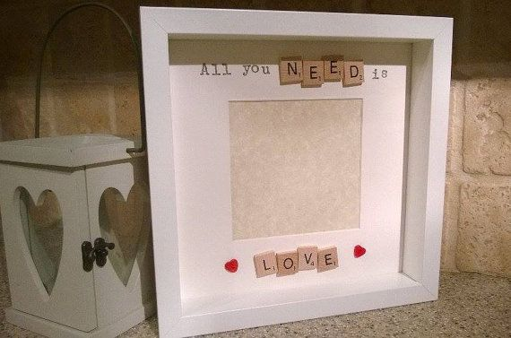 All You Need Is Love - Handmade Box Photo Frame. Available in Black or white Frame. and Wooden, Ivory, Blue or Pink tiles