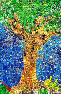 """Styrofoam Mosaic: Packing """"peanuts"""" painted with tempra paint. community. collab."""