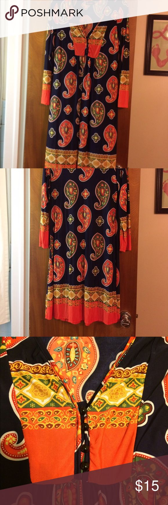 Reborn Dress/Tunic Navy background with bright orange & green paisleys. Bottom of neckline has 4 buttons as pictured. NWOT. Fabulous flowy material. Reborn Tops
