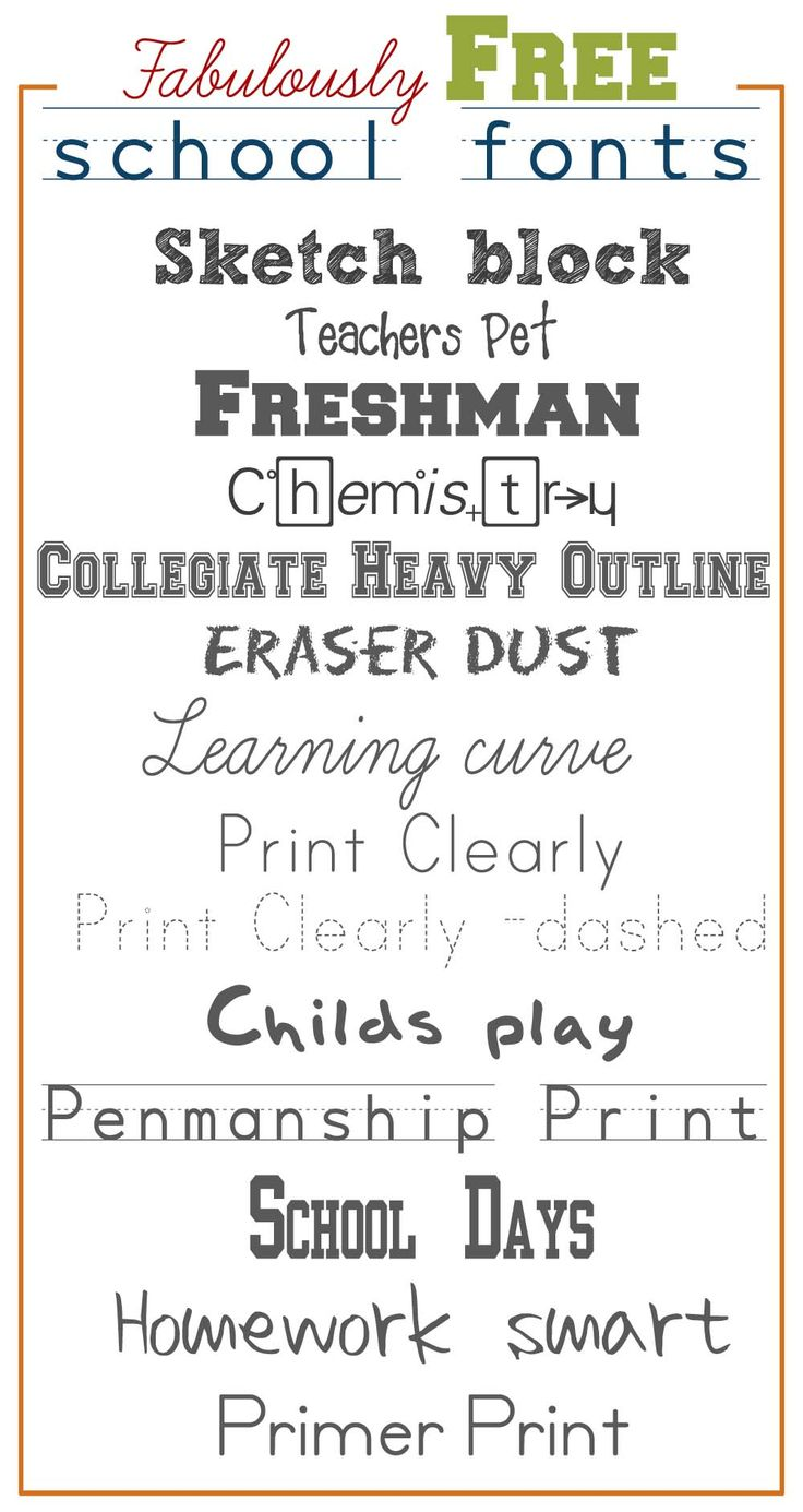 School Fonts. My favorites are Print Clearly - dashed and Penmanship Print because they will be great for writing practice.