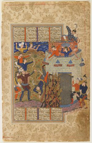 Folio from a Shahnama (Book of kings) by Firdawsi (d.1020); verso: Rustam and his men attack the fortress of Gang Dizh; recto: text circa 1590-1600 Safavid period  Ink, opaque watercolor and gold on paper H: 32.4 W: 20.6 cm  Iran  Purchase--Smithsonian Unrestricted Trust Funds, Smithsonian Collections Acquisition Program, and Dr. Arthur M. Sackler S1986.262  Freer-Sackler   The Smithsonian's Museums of Asian Art
